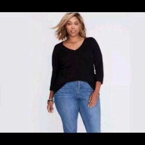 Black Plus Size Lane Bryant V-neck Sweater 18/20